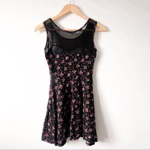 Charlotte Russe Black + Pink Floral Mesh Top Dress